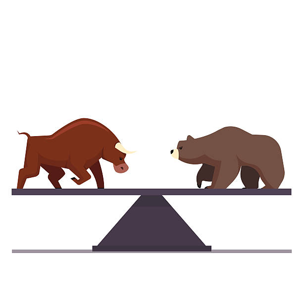 Stock market bulls and bears battle metaphor Stock market bulls and bears battle metaphor. Stock exchange trading business concept. Market equilibrium. Modern fat style vector illustration. wall street stock illustrations