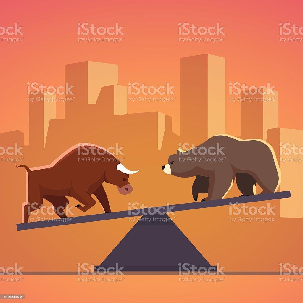 Stock market bulls and bears battle metaphor vector art illustration