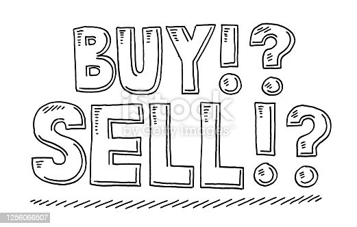 istock Stock Market Buy Sell Text Drawing 1256066507