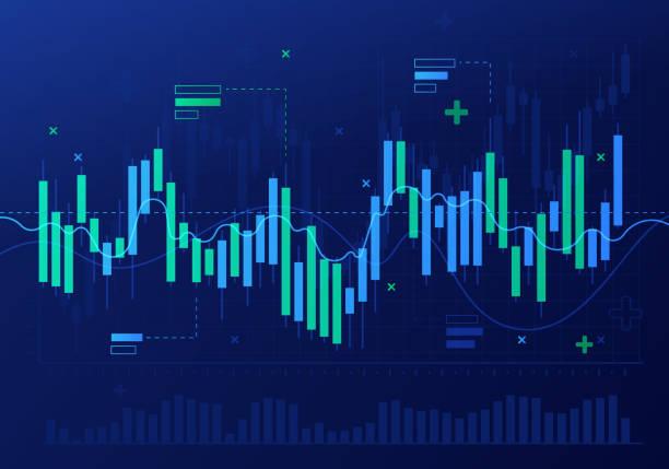 ilustrações, clipart, desenhos animados e ícones de resumo de análise financeira do mercado de ações castiçal - economia