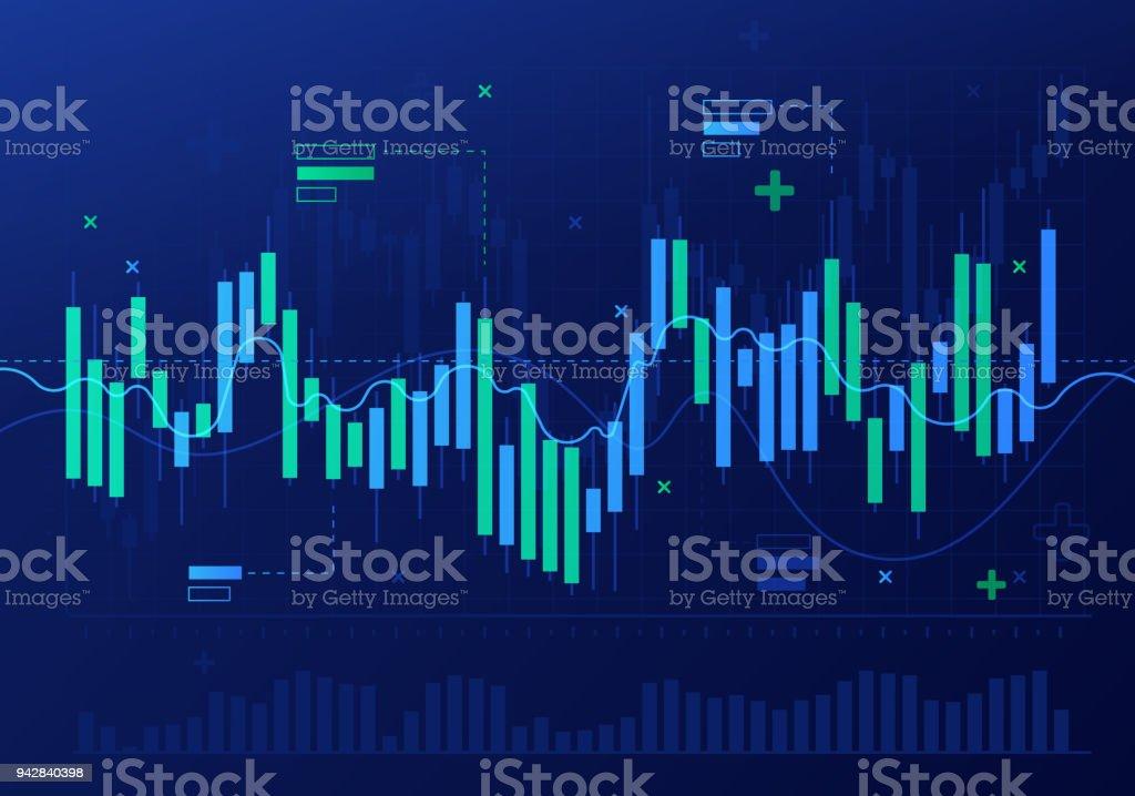 Resumo de análise financeira do mercado de ações castiçal - ilustração de arte em vetor