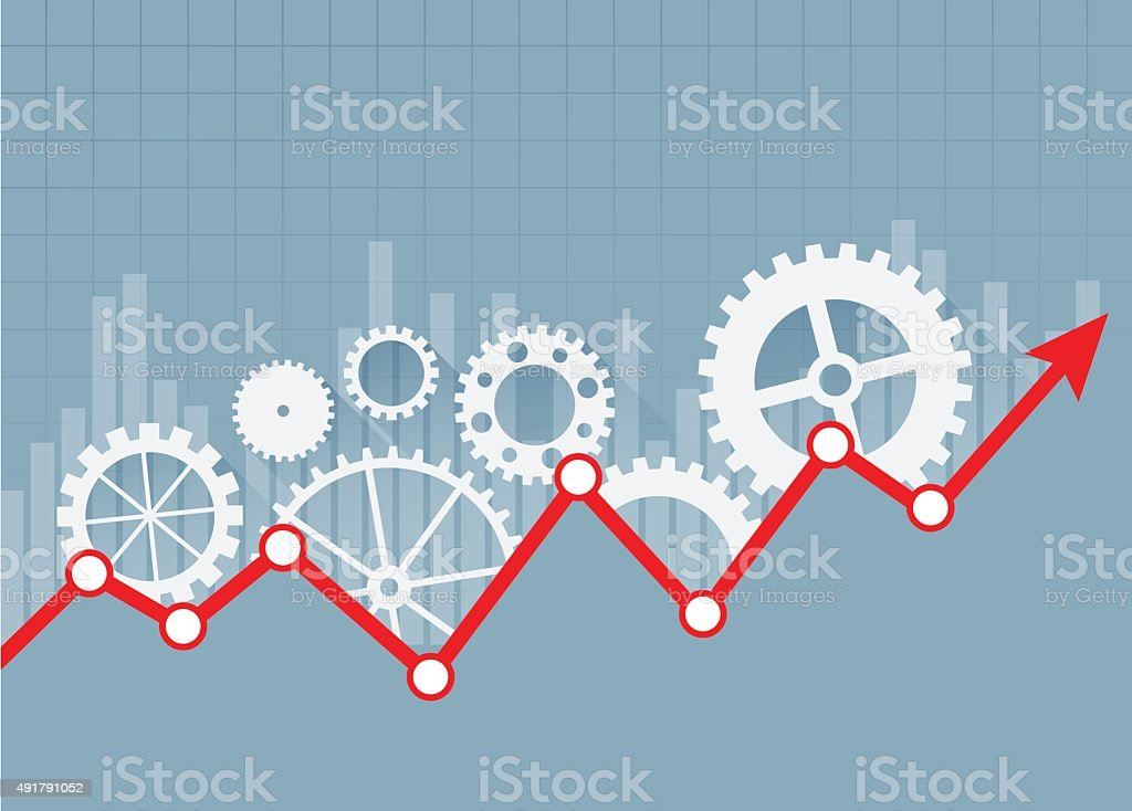 Stock market chart and gearshifts vector art illustration