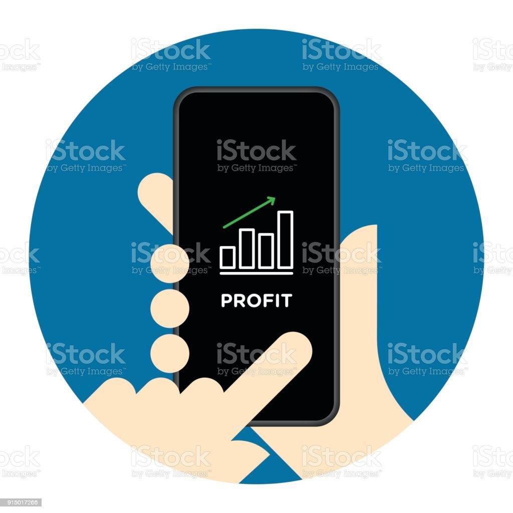 Stock market chart on mobile phone screen vector art illustration