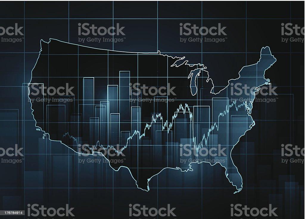 Stock market chart over USA map royalty-free stock vector art