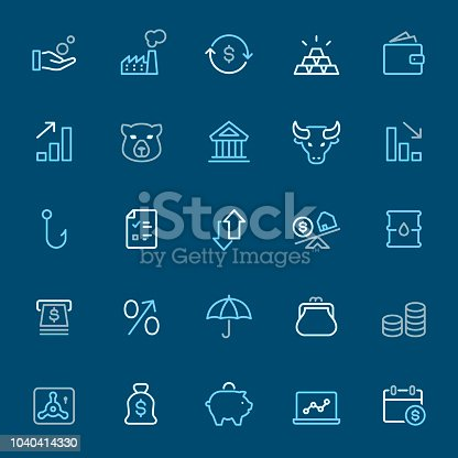 Stock Market - 25 Outline Style - Pixel Perfect Tricolor - Icons Set #04 Icons are designed in 48x48pх square, outline stroke 2px.  First row of outline icons contains: Coins in human hand, Factory, Exchanging Dollar, Ingot, Wallet;  Second row contains: Moving Up Graph, Bear, Bank Building, Bull - Animal, Moving Down Graph;  Third row contains: Hook icon, Checklist, Up and Down arrows, Mortage, Oil Drum;  Fourth row contains: ATM, Percentage Sign, Insurance, Change Purse, Coins stacked;  Fifth row contains: Vaulted Door, Money Bag, Piggy Bank, Laptop, Calendar Date.  Complete Navico icons collection - https://www.istockphoto.com/collaboration/boards/b3OZ01lhT0eMQOsbbTYVyQ
