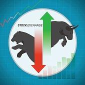 Stock market concept bull vs bear up and down arrow