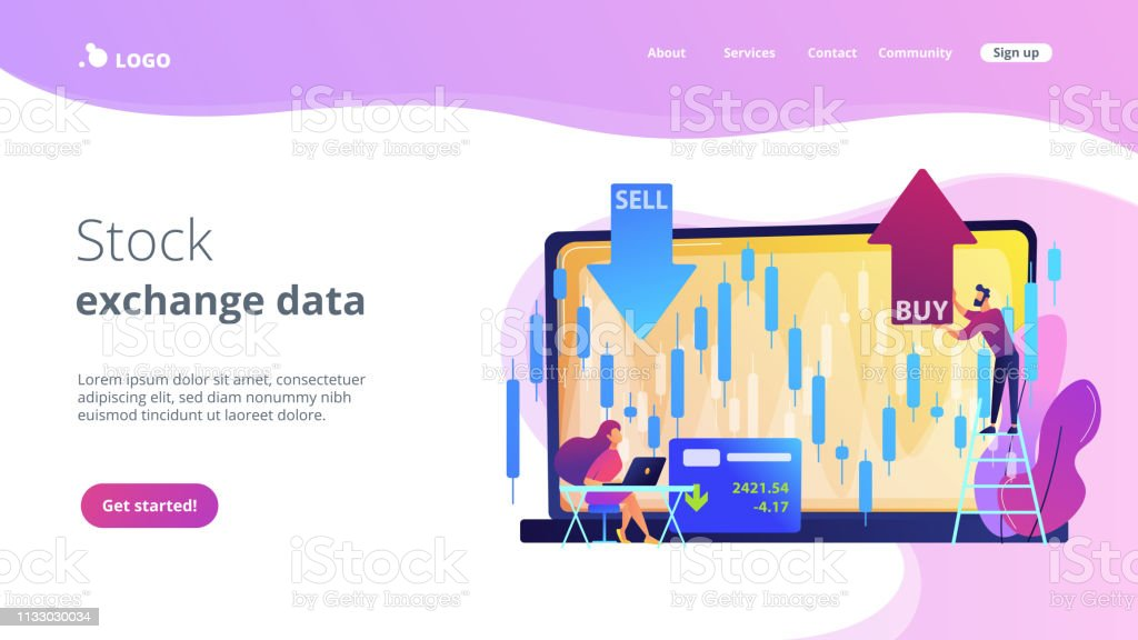 Stock market concept landing page. vector art illustration