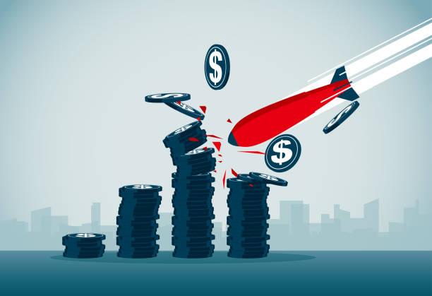 stock market crash vector art illustration