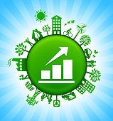 Stock Market Environment Green Button Background on Blue Sky