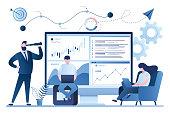 istock Stock market, financial analysis. Business analyst working. Profit, Revenue Forecast. 1253982933