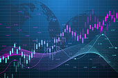 Stock market graph or forex trading chart for business and financial concepts. Abstract finance background investment or Economic trends business idea. Stock market data. Vector illustration.