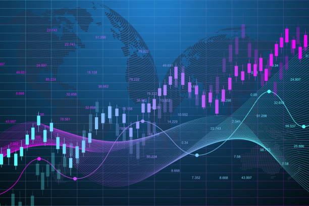 ilustrações, clipart, desenhos animados e ícones de gráfico de mercado de ações ou carta de troca dos estrangeiros para conceitos do negócio e os financeiros. investimento abstrato do fundo da finança ou idéia econômica do negócio das tendências. dados do mercado de ações. ilustração do vetor - comercializando