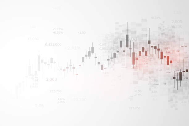 stock market graph or forex trading chart for business and financial concepts, reports and investment on grey background.japanese candles . vector illustration - handlować stock illustrations