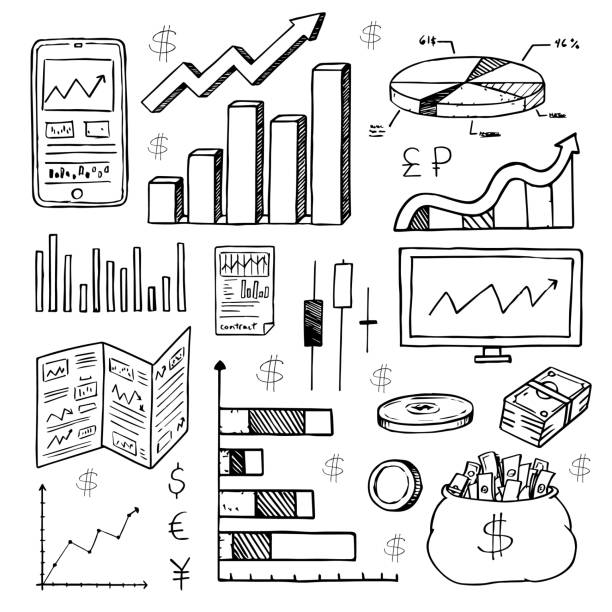 Stock Market Had Drawn Symbols Stock Vector Art More Images Of