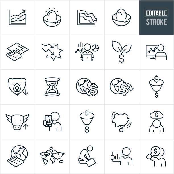 ilustraciones, imágenes clip art, dibujos animados e iconos de stock de iconos de línea delgada de valores altos y bajos - trazo editable - corredor de bolsa