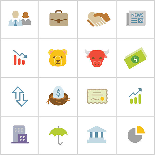 Stock Market Icons — Poly Series Professional icon set in flat color style. Vector artwork is easy to colorize, manipulate, and scales to any size. nest egg stock illustrations