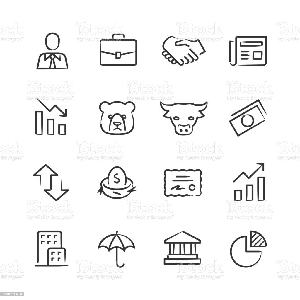 Stock Market Icons — Sketchy Series vector art illustration