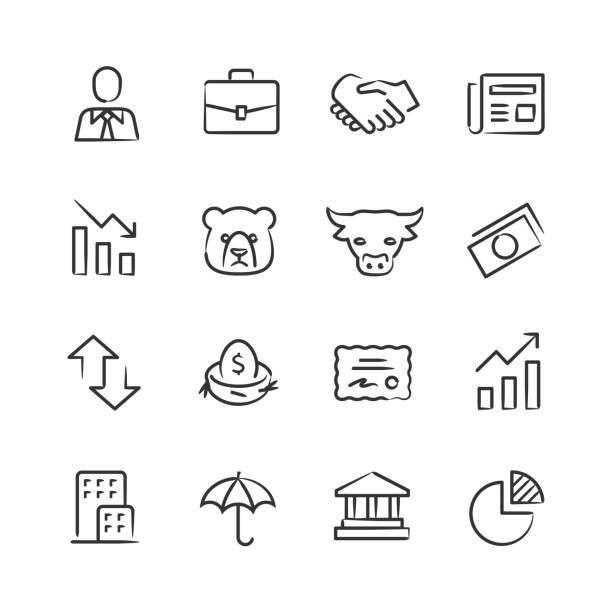 Stock Market Icons — Sketchy Series Professional icon set in sketch style. Vector artwork is easy to colorize, manipulate, and scales to any size. nest egg stock illustrations