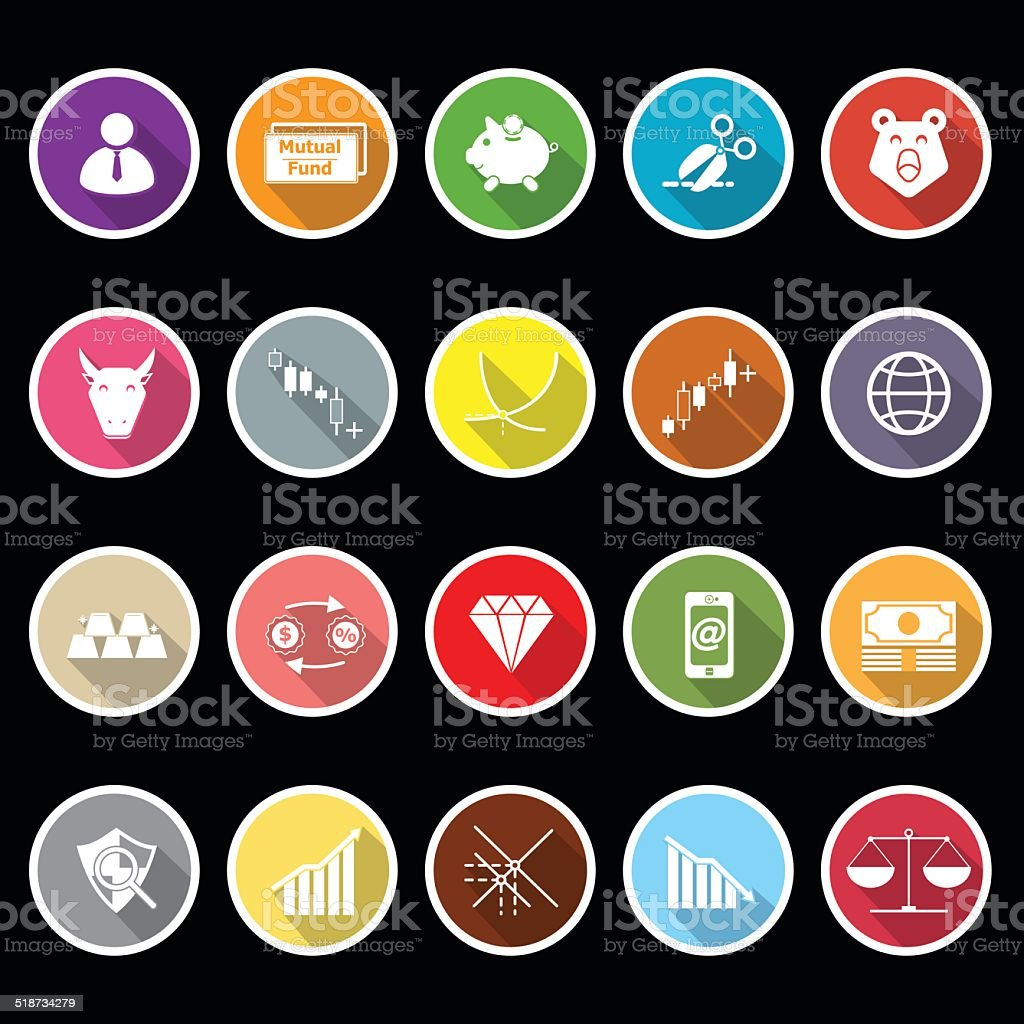 Stock market icons with long shadow vector art illustration