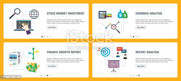 Vector set of vertical web banners with stock market investment, earnings analysis, finance growth, report analysis. Vector banner template for website and mobile app development with icon set.