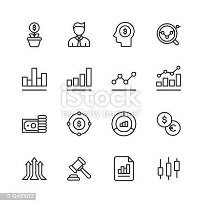 16 Stock Market Outline Icons.
