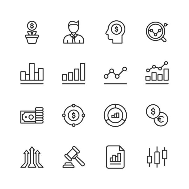 Stock Market Line Icons. Editable Stroke. Pixel Perfect. For Mobile and Web. Contains such icons as Stock Market, Currency Exchange, Cryptocurrency, Savings, Investment, Bull Market, Bear Market, Data, Graph, Technical Analysis, Growth, Recession. 16 Stock Market Outline Icons. wall street stock illustrations