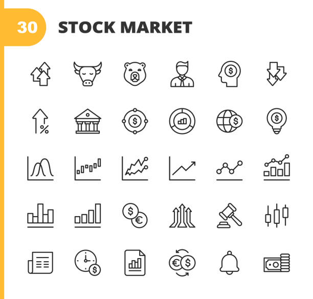 Stock Market Line Icons. Editable Stroke. Pixel Perfect. For Mobile and Web. Contains such icons as Stock Market, Currency Exchange, Cryptocurrency, Savings, Investment, Bull Market, Bear Market, Data, Graph, Technical Analysis, Growth, Recession. 30 Stock Market Outline Icons. wall street stock illustrations