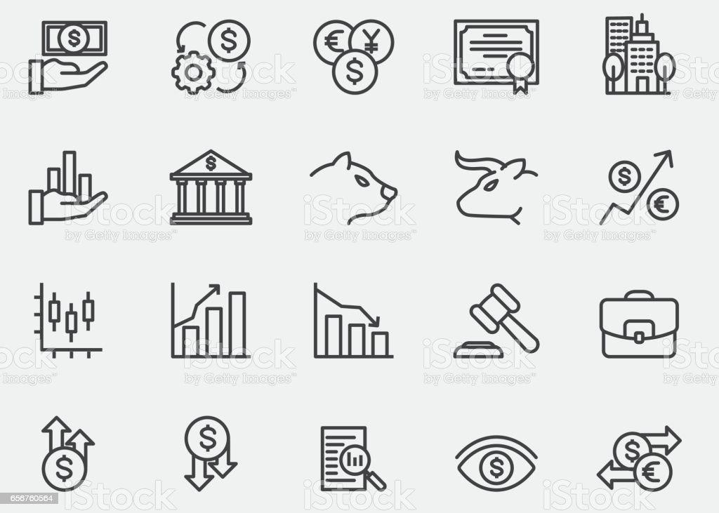 Ícones de linha do mercado de ações | EPS10 - ilustração de arte em vetor
