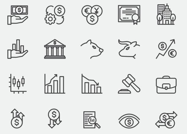 ilustrações, clipart, desenhos animados e ícones de ícones de linha do mercado de ações | eps10 - investimento