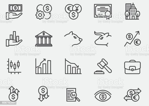 Stock Market Lijn Pictogrammen Eps10 Stockvectorkunst en meer beelden van Aandeel