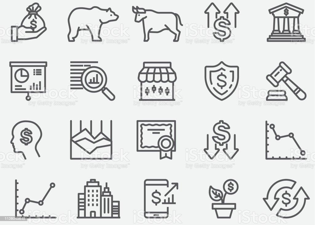 Stock Market lijn pictogrammen - Royalty-free Bedrijfsleven vectorkunst