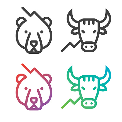 Bear and bull. Files included: Vector EPS 10, HD JPEG 4000 x 4000 px