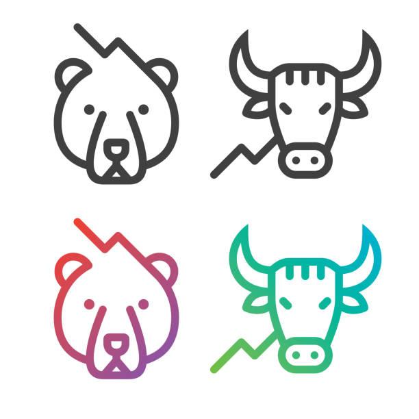 stockillustraties, clipart, cartoons en iconen met stock market lijn pictogrammen - bullmarkt