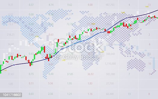 Candlestick chart in financial market vector background, graphic design for investment concept