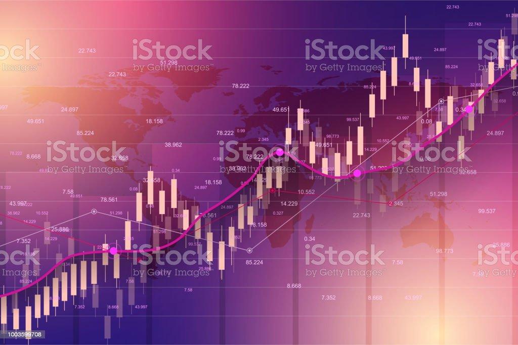 Marché boursier ou forex trading graphique Microsoft graph convenant au concept d'investissement financier. Fond de tendances économie pour idée d'entreprise. Arrière-plan des Finances abstraite. Illustration vectorielle - Illustration vectorielle