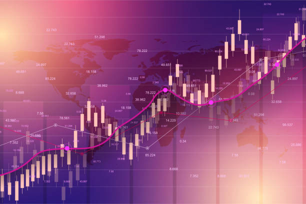 stock market or forex trading graph chart suitable for financial investment concept. economy trends background for business idea. abstract finance background. vector illustration - dane giełdowe stock illustrations