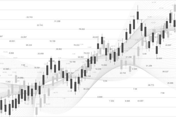 Aktienmarkt oder Devisenhandelsgrafik, geeignet für das Finanzinvestitionskonzept. Die wirtschaftliche Entwicklung ist der Grund für die Geschäftsidee. Abstrakter Finanzhintergrund. Vektorabbildung – Vektorgrafik