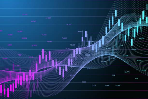 ilustrações, clipart, desenhos animados e ícones de mercado de ações ou forex gráfico gráfico de negociação adequado para o conceito de investimento financeiro. fundo das tendências da economia para a idéia do negócio. fundo abstrato da finança. ilustração do vetor - comercializando