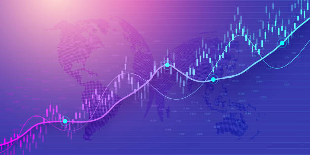 stock market or forex trading graph in graphic concept for financial investment or economic trends business idea design. worldwide finance background. vector illustration. - dane giełdowe stock illustrations