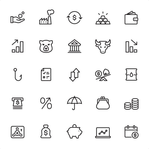 Stock Market - Outline Icon Set Stock Market - 25 Outline Style - Single black line icons - Pixel Perfect / Pack #04 Icons are designed in 48x48pх square, outline stroke 2px.  First row of outline icons contains: Coins in human hand, Factory, Exchanging Dollar, Ingot, Wallet;  Second row contains: Moving Up Graph, Bear, Bank Building, Bull - Animal, Moving Down Graph;  Third row contains: Hook icon, Checklist, Up and Down arrows, Mortage, Oil Drum;  Fourth row contains: ATM, Percentage Sign, Insurance, Change Purse, Coins stacked;  Fifth row contains: Vaulted Door, Money Bag, Piggy Bank, Laptop, Calendar Date.  Complete Grandico collection - https://www.istockphoto.com/collaboration/boards/FwH1Zhu0rEuOegMW0JMa_w change purse stock illustrations