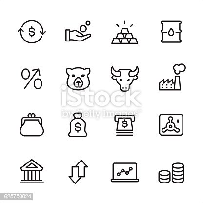 Stock Market theme related vector icons.