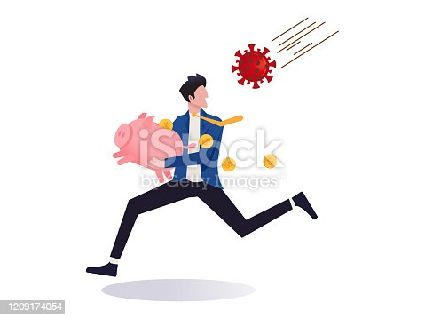 Stock market panic sell from novel corona virus, risk off or investor sell all their assets concept, businessman holding piggy bank with dollar coins running away from COVID-19 Coronavirus pathogen.