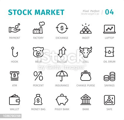 Stock Market - 20 Outline Style - Single line icons with captions / Set #04 Designed in 48x48pх square, outline stroke 2px.  First row of outline icons contains: Payment, Factory, Exchange, Ingot, Laptop;  Second row contains: Hook, Bear, Change, Bull, Oil Drum;  Third row contains: ATM, Percent, Insurance, Change Purse, Savings;  Fourth row contains: Wallet, Money Bag, Piggy Bank, Bank, Safe.  Complete Signico collection - https://www.istockphoto.com/collaboration/boards/VT_7sDWo80OLh7foVxchBQ