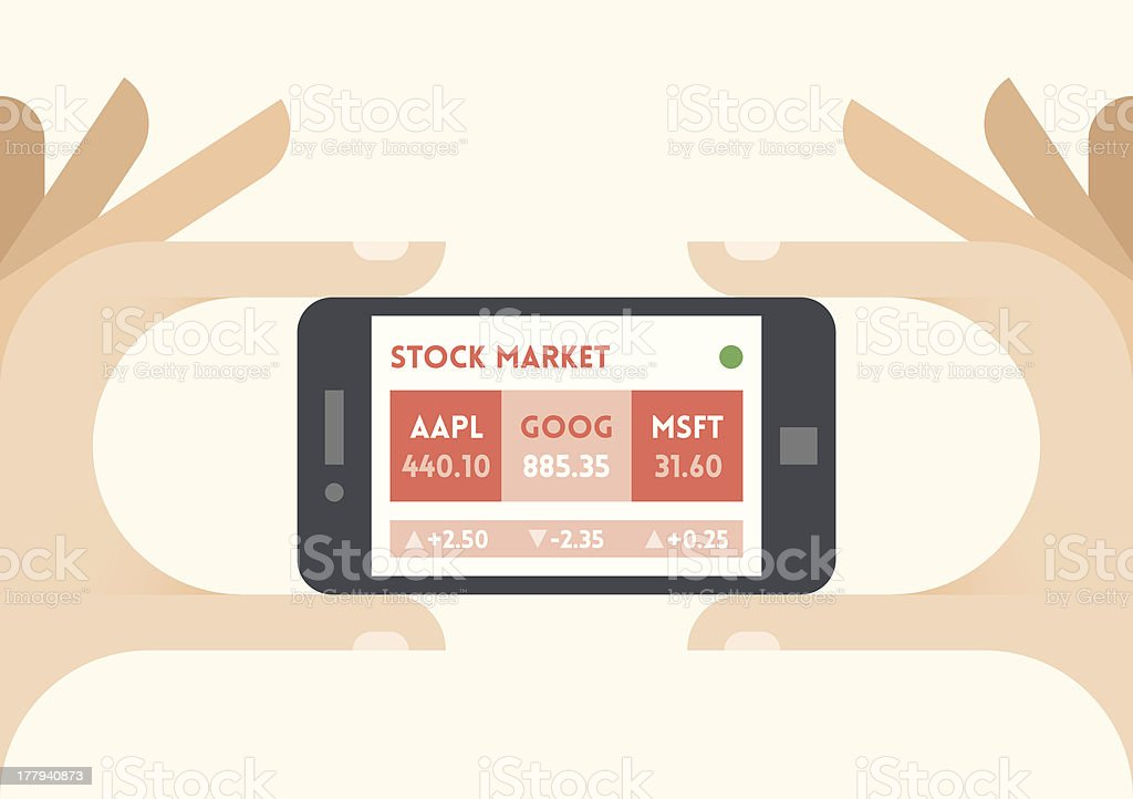 NASDAQ stock market quotes on mobile phone royalty-free stock vector art