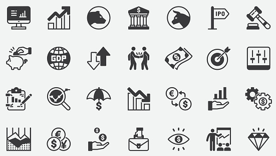 Stock Market , Stock Exchange , Bear , Bull and Finance and Graph Analytics Concept Icons