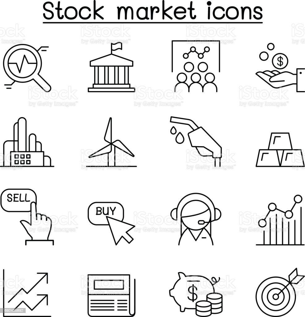 Stock market , Stock Exchange, Stock money icon set in thin line style vector art illustration