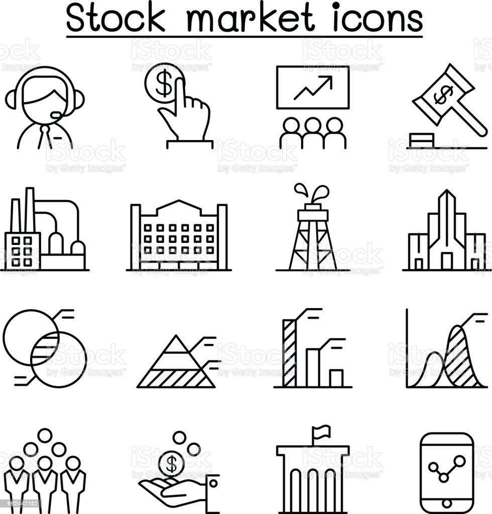 Stock market, Stock money, Stock exchange icon set in thin line style vector art illustration