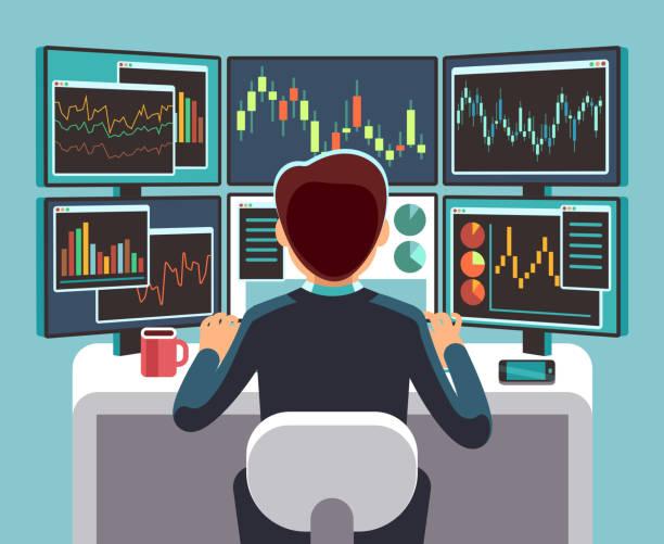 ilustraciones, imágenes clip art, dibujos animados e iconos de stock de trader de bolsa mirando en varias pantallas de ordenador con financieros y gráficos del mercado. concepto de vector de análisis de negocio - corredor de bolsa