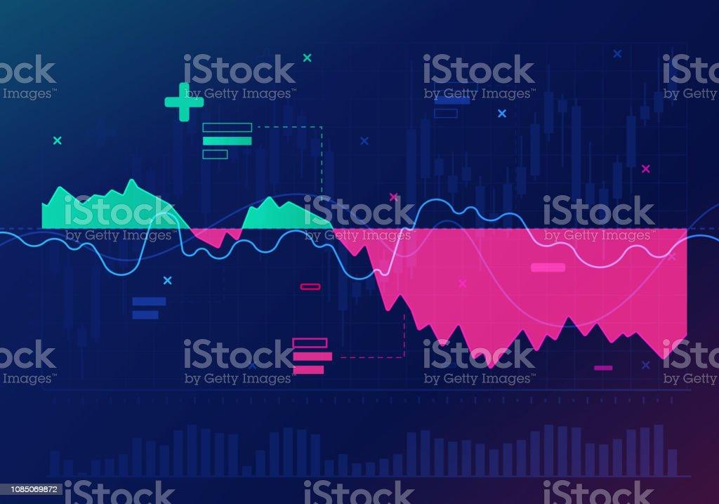 Stock Market Trading Financial Analysis Abstract Stock market financial recession chart. Abstract stock vector