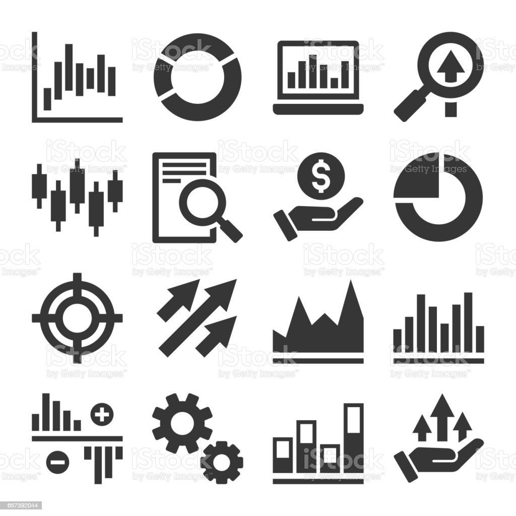 Stock Market Trading Icons Set. Vector vector art illustration